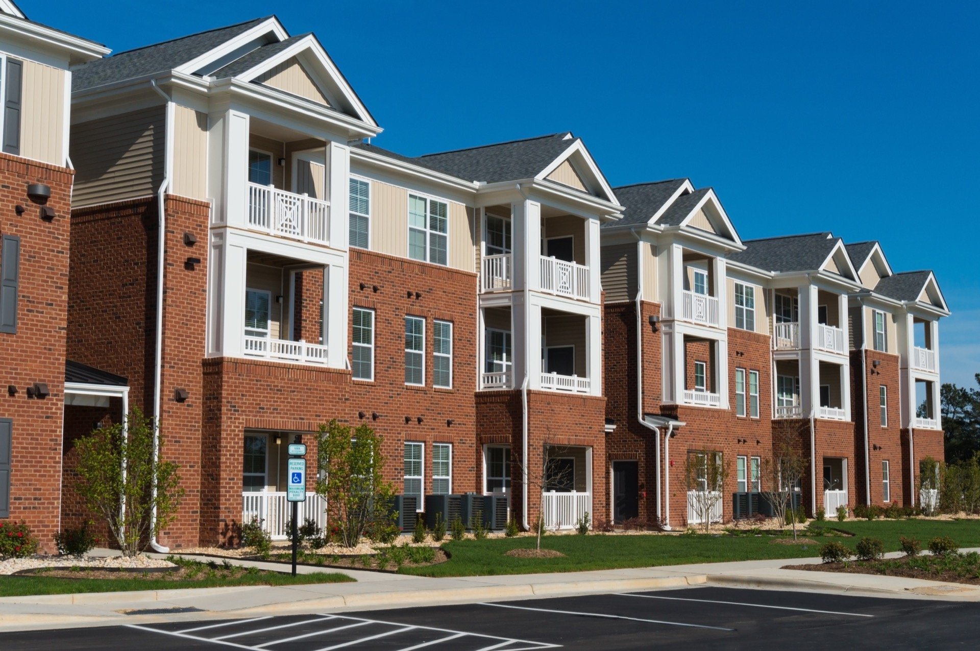 Condos in line in suburban neighborhood